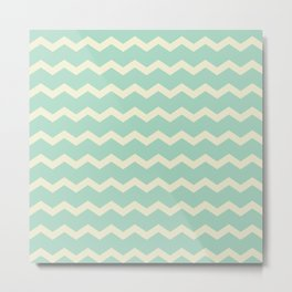 Chevron in Seamist and Sand Metal Print