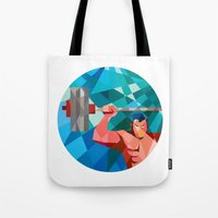 snatch Tote Bags featuring Weightlifter Snatch Grab Lifting Barbell Low Polygon by patrimonio