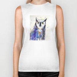 Owl, watercolor Biker Tank
