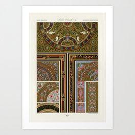 Greek-Byzantine pattern from L'ornement Polychrome (1888) by Albert Racinet (1825–1893). Art Print