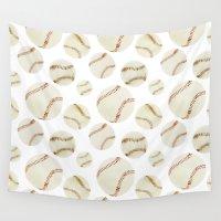 baseball Wall Tapestries featuring Baseball Pattern by Moira Birch Swiatkowski