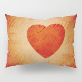 Romantic Heart and Words Pillow Sham