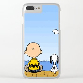 Charlie Brown Snoopy On Dock Clear iPhone Case