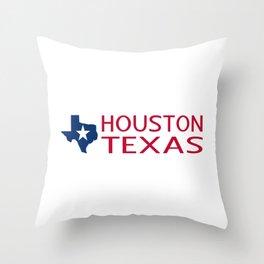 Texas: Houston (State Shape & Star) Throw Pillow