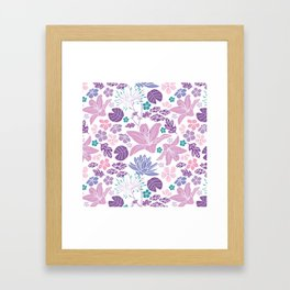 Purple and pink Japanese pond foral Framed Art Print