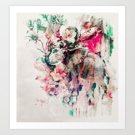 Watercolor Elephant and Flowers Art Print