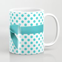 polkadot Mugs featuring Blue Tiffany Polkadot by albert Junior