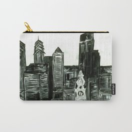 Black and White Philly Skyline Carry-All Pouch