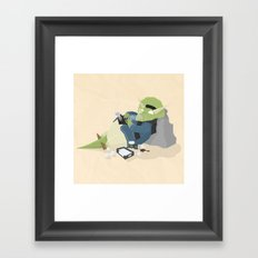 Hipster Dinosaur adds the latest chapters to his novel Framed Art Print
