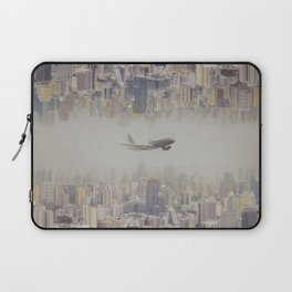The plane flew over the city, Bangkok  ,Thailand Laptop Sleeve