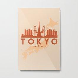 TOKYO JAPAN CITY MAP SKYLINE EARTH TONES Metal Print