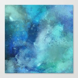 Abstract navy blue teal turquoise watercolor pattern Canvas Print