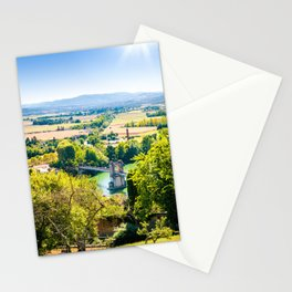 Landscape of Trevoux town scenic in France along Saone river Stationery Cards