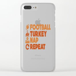 Thanksgiving Turkey Football Funny Apparel Gift Clear iPhone Case