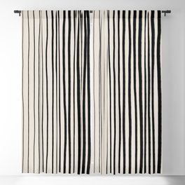 Black Vertical Lines Blackout Curtain