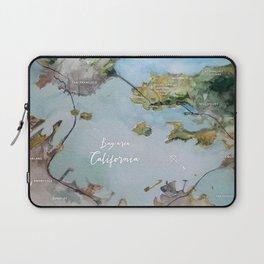SF, San Francisco, Oakland, Bay Area, California Watercolor Map Art Laptop Sleeve