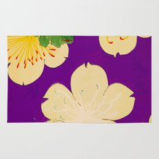 Purple Japanese Floral Vintage Pattern Rug