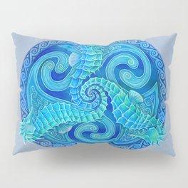 Seahorse Triskele Celtic Blue Spirals Mandala Pillow Sham