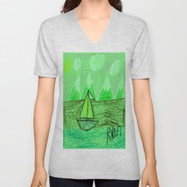 Sailboat on a Lake in the Mountains Unisex V-Neck