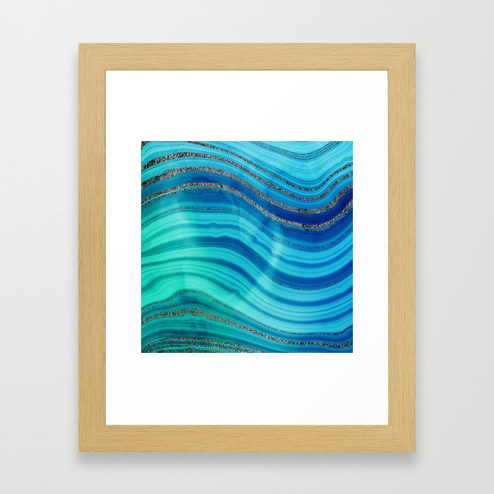 Gold Indigo Blue  Ocean Marble Waves Framed Art Print