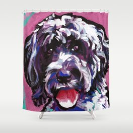 PWD Portuguese Water Dog Fun bright colorful Pop Art Dog Painting by Lea Shower Curtain