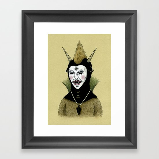 Creature with Black Amulet  Framed Art Print