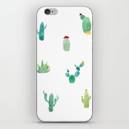 Summer pattern with cacti and yellow cats ! iPhone Skin