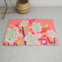 Abstract Floral Sunflowers Sunset Colours  Rug