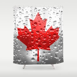 Flag of Canada - Raindrops Shower Curtain