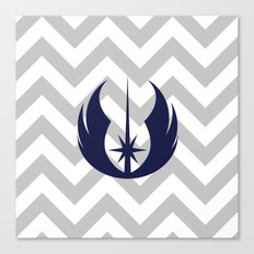 Jedi Order in Navy on Gray Chevrons Canvas Print
