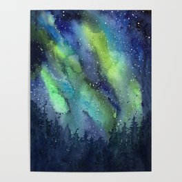 Galaxy Aurora Northern Lights Nebula Space Watercolor Poster