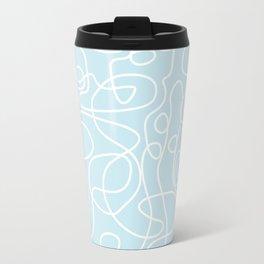 Doodle Line Art | White Lines on Palest Blue Travel Mug