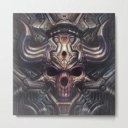 BioMech-HellSkull Metal Print