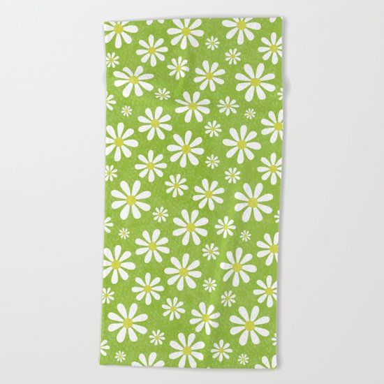 DAISIES ON APPLE GREEN Beach Towel