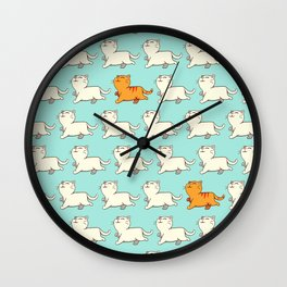 Proud cat pattern blue Wall Clock