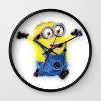 minion Wall Clocks featuring Minion by KitschyPopShop