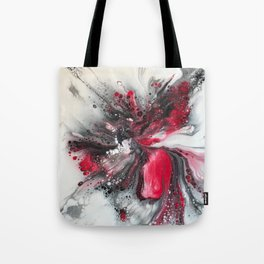 Black and Red Floral Explosion Tote Bag