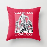 guardians of the galaxy Throw Pillows featuring Guardians by LilloKaRillo