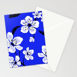 Blue Sakura Cherry Tree Flower Blooms - Aloha Hawaiian Floral Pattern Stationery Cards