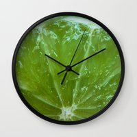 lime green Wall Clocks featuring Lime Green and Fresh by BluedarkArt