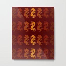 Golden Dragon Pattern Metal Print