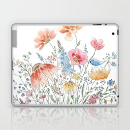 wild flower bouquet and blue bird- ink and watercolor 2 Laptop & iPad Skin
