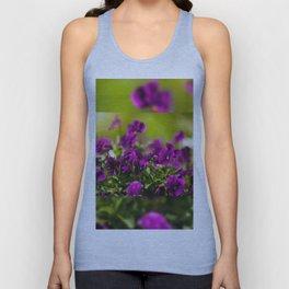 Purple pansies flowering bunch Unisex Tank Top