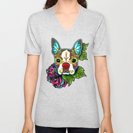 Boston Terrier in Red - Day of the Dead Sugar Skull Dog Unisex V-Neck