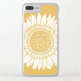 Yellow Sunflower Drawing Clear iPhone Case