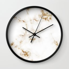 White Marble with Gold Accents Wall Clock