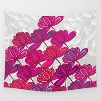 hot pink Wall Tapestries featuring Hot Pink Floral by Michelle Nilson
