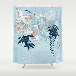 Japanese Kimono Motif With Crane Shower Curtain