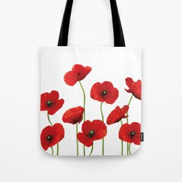 Poppies Field white background Tote Bag