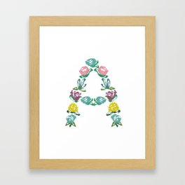 Floral A Monogram Framed Art Print